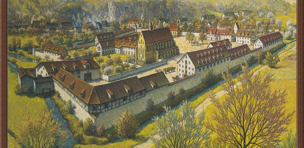 Historisches gemaltes Bild des Klosterhof-Areals